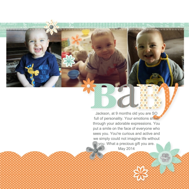Baby Boy 8x8 Digital Scrapbook Layout