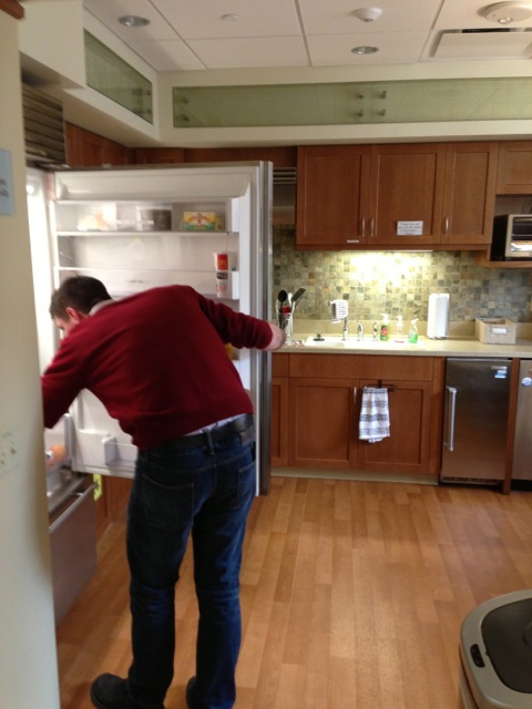 My husband getting a snack in the beautiful kitchen of the Ronald McDonald Family Room. It was so great to be able to take a break from the NICU and come to the Family Room with the home-like atmosphere.