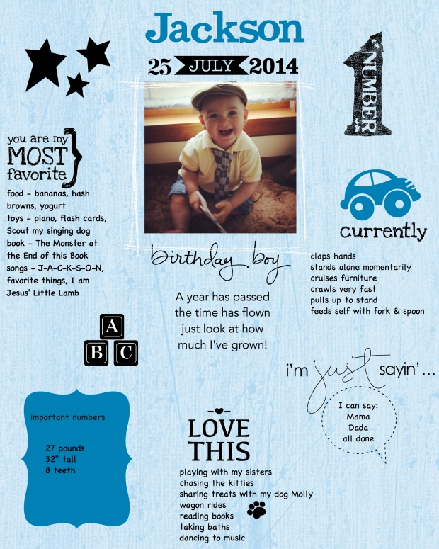 8x10 poster to display at birthday party, made with My Digital Studio