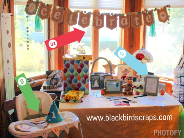 1st Birthday Party, Stampin' Up! style 1)Project Life sign-in cards 2)Celebrate banner customized with zoo babies to fit theme 3)high chair banner made with MDS
